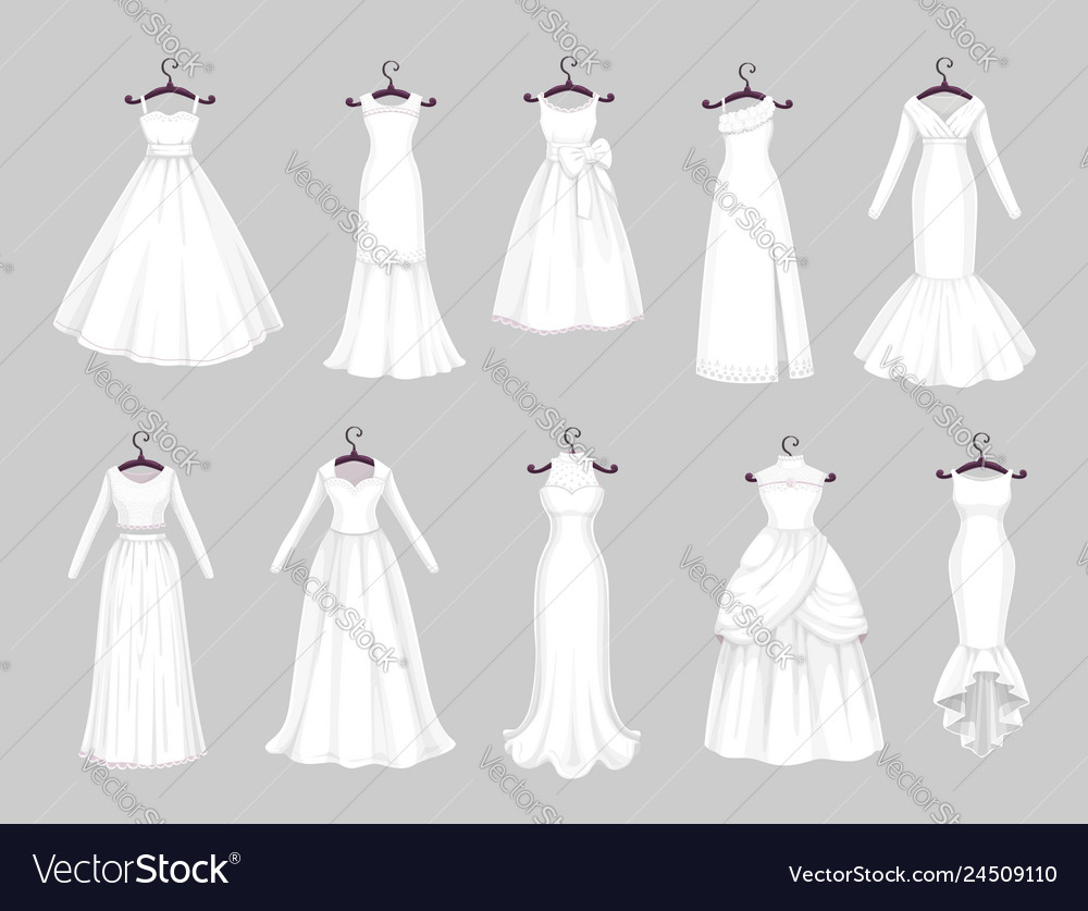 White wedding dresses on hangers marriage clothes