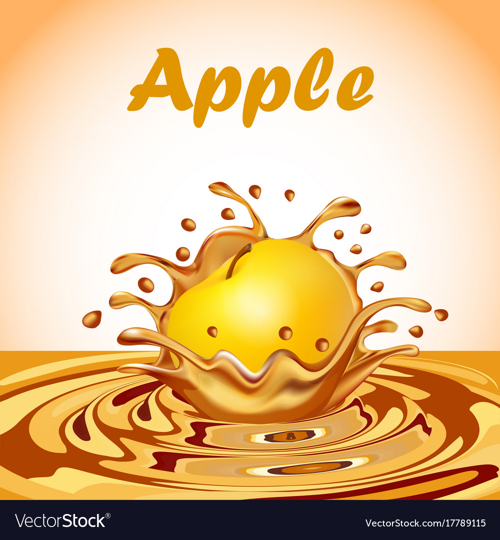 A splash of juice from a falling apple and a drop