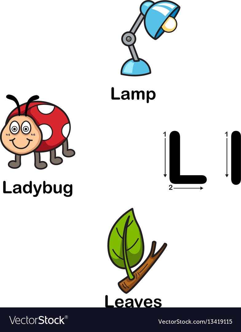 Alphabet letter l-lamp ladybug leaves vector image