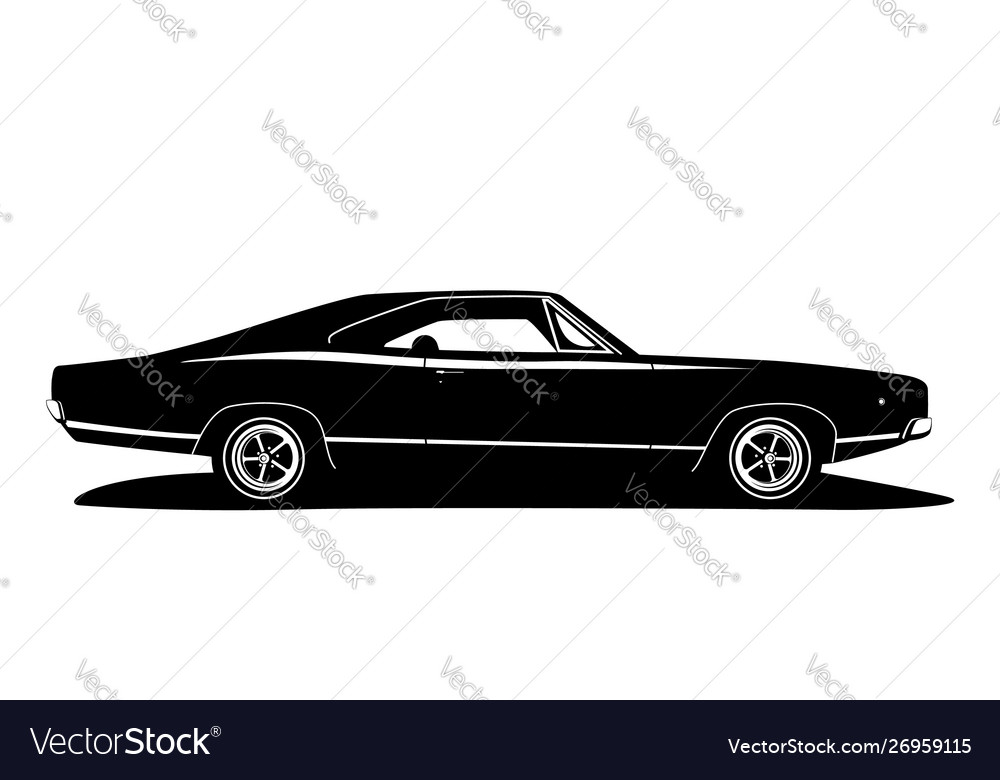 American Muscle Car Profile Classic Vehicle Vector Image