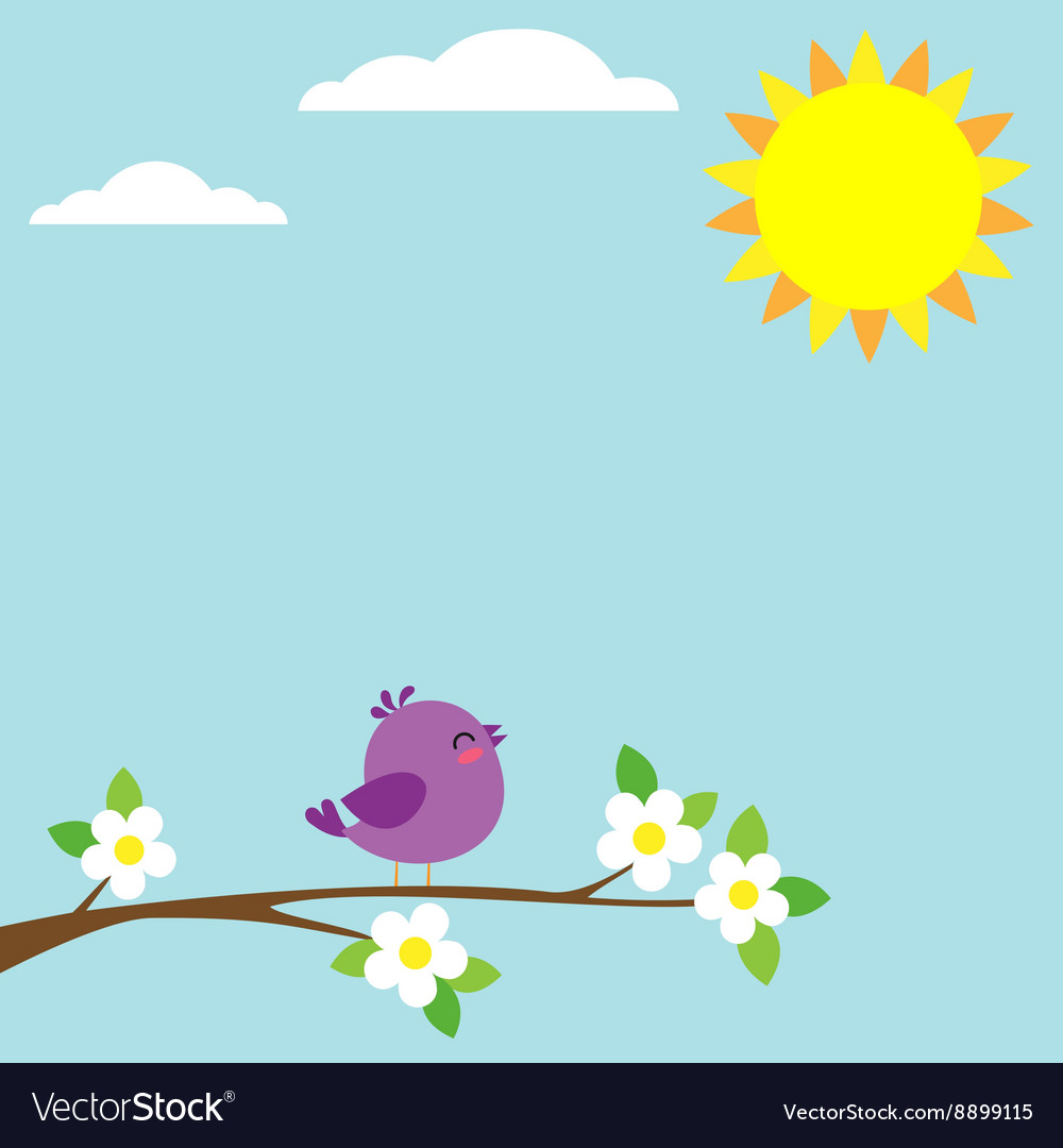 Bird sitting on blooming branch vector image