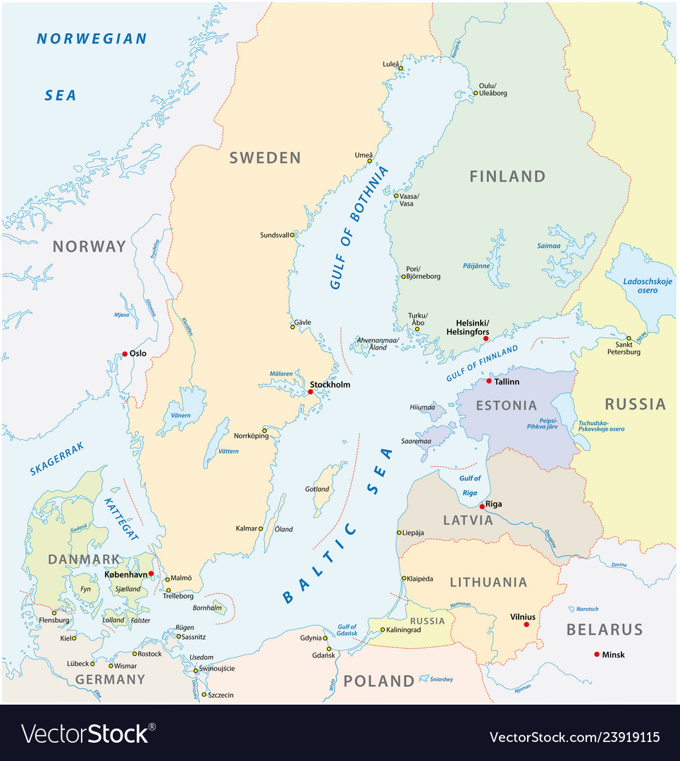 Detailed baltic sea area map Royalty Free Vector Image