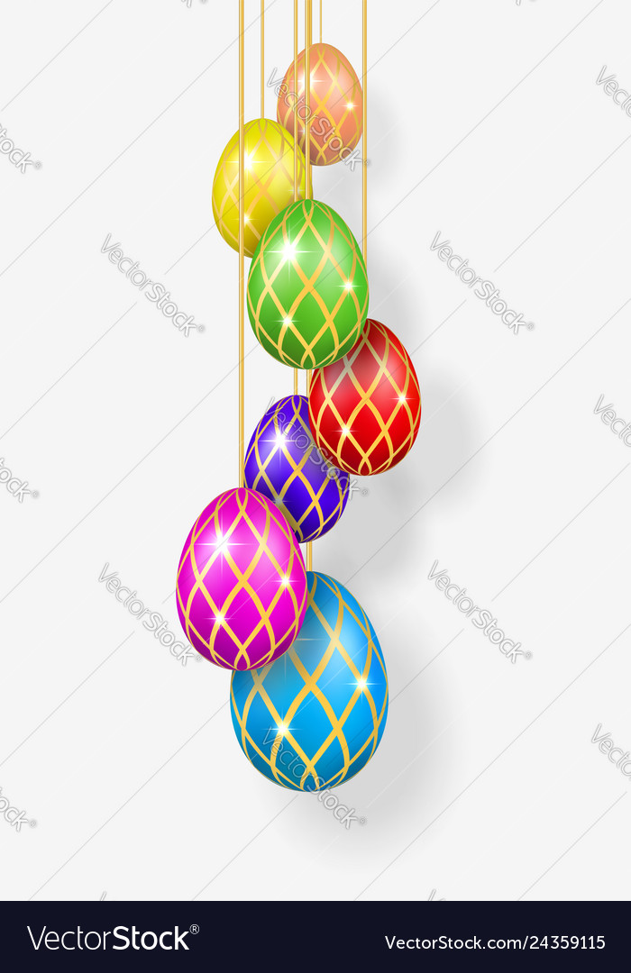 Easter egg 3d bright hanging easter eggs on rope