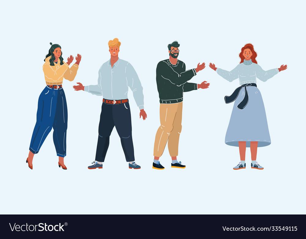 Group cartoon people on