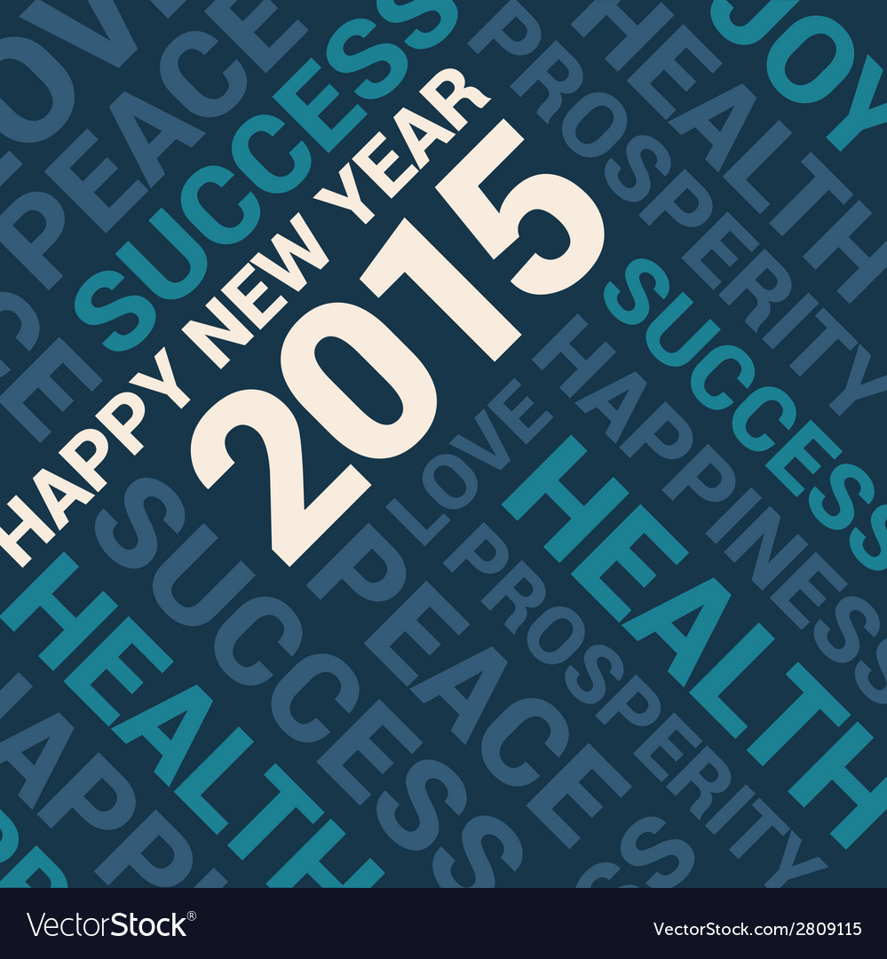 Happy new year 2015 card word cloud background