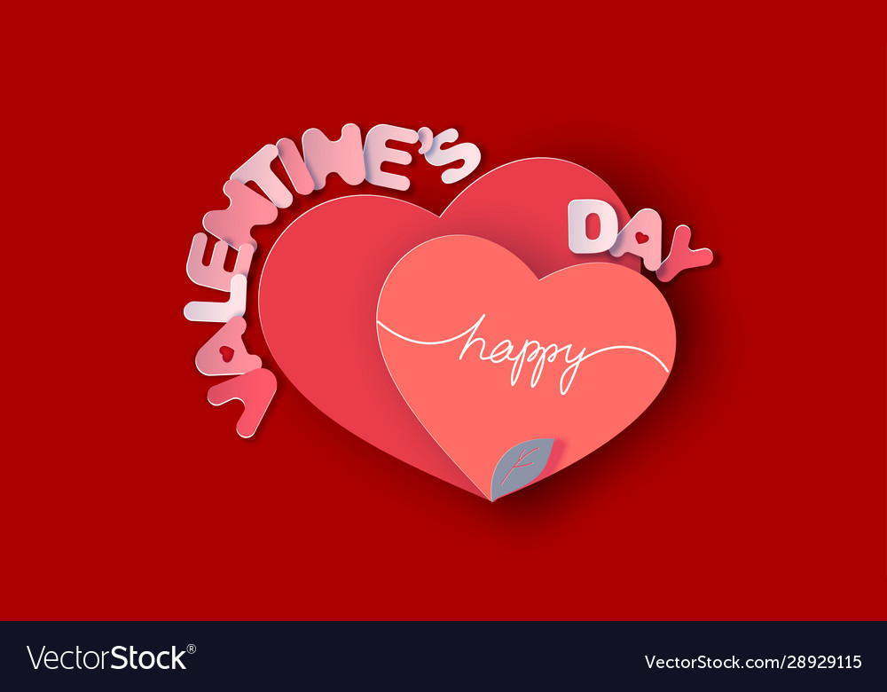 Happy valentines day card paper art