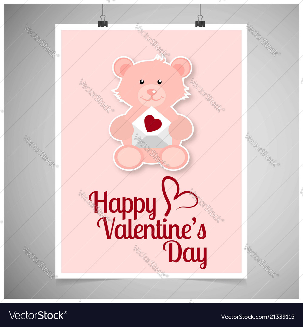 Happy valentines day card with teddy