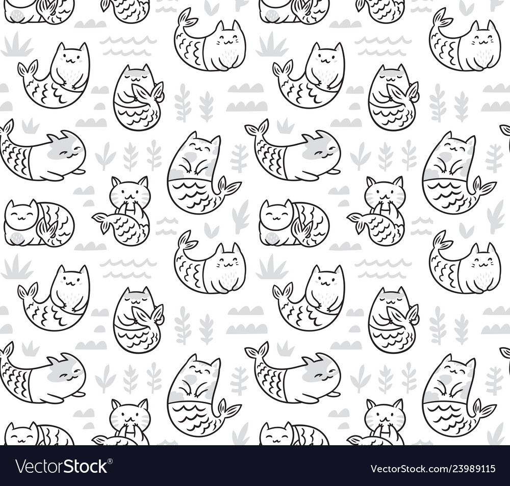 Ink seamless pattern with cute cats mermaids in
