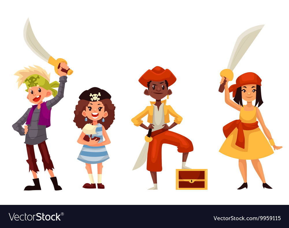 Kids in pirate costumes with swords and treasure
