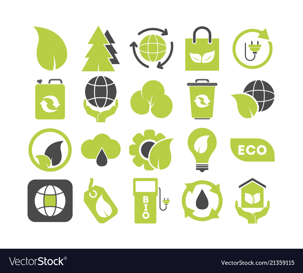 Set of ecology green icons