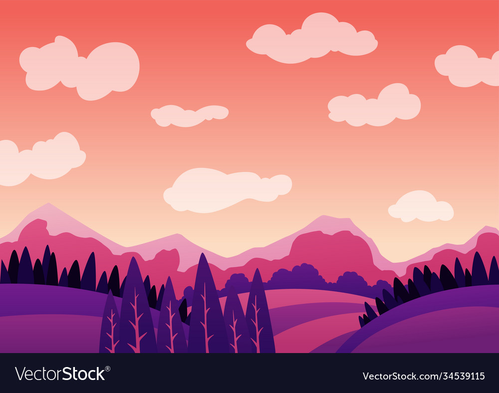 Summer evening landscape with mountains