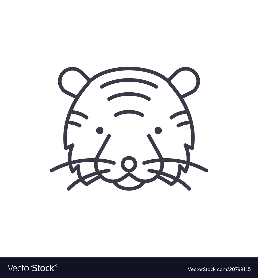 Tiger head line icon sign on vector image