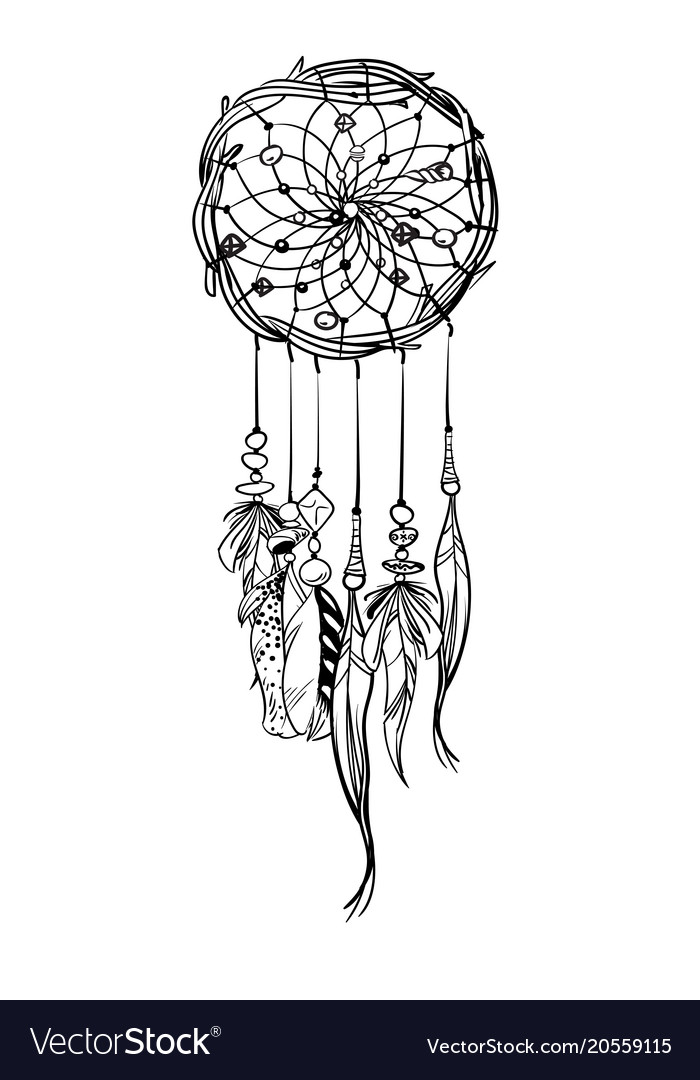 With Hand Drawn Dream Catcher Royalty Free Vector Image Inspiration Drawn Dream Catchers