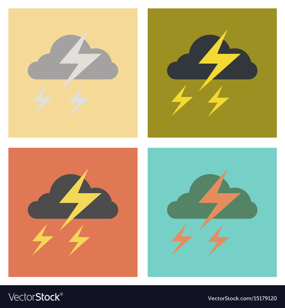 Assembly flat icons nature lightning cloud