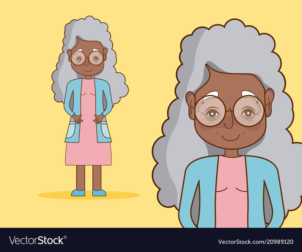 Beautiful grandmother cartoon