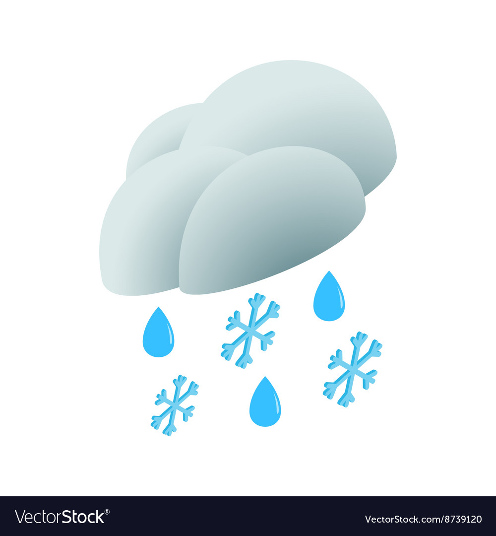 Cloud with rain drops and snowflakes icon