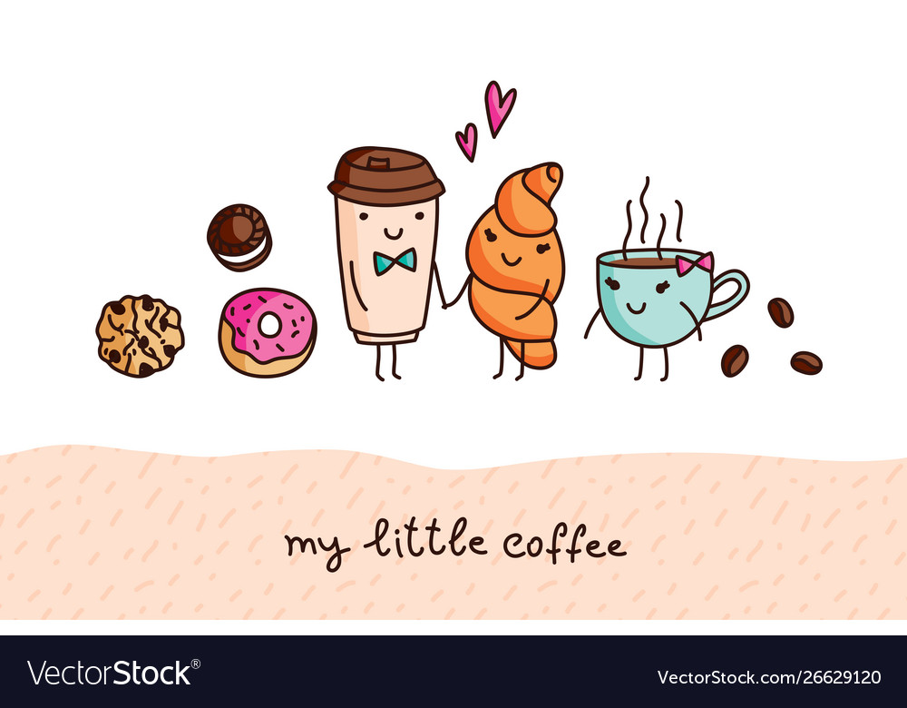 Coffee and sweets cute cartoon elements
