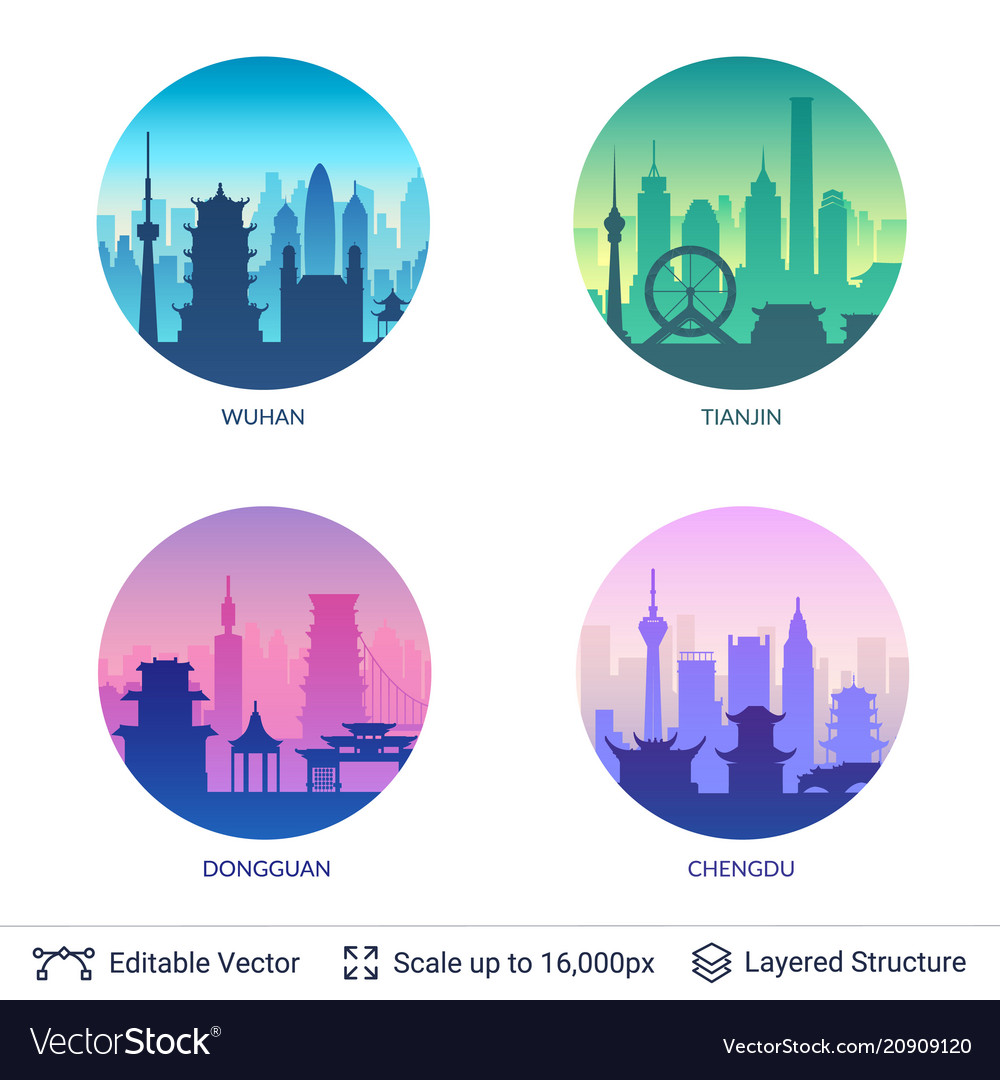 Collection of famous chinese city scapes