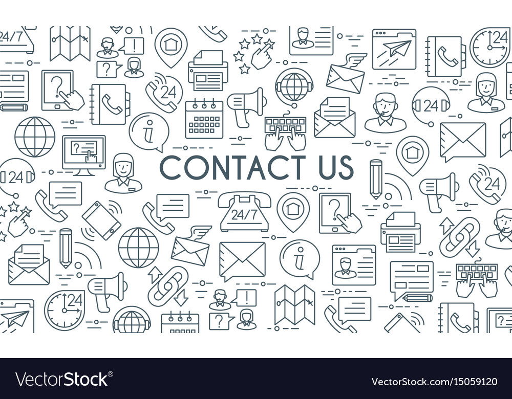 Contact us thin line banner vector image
