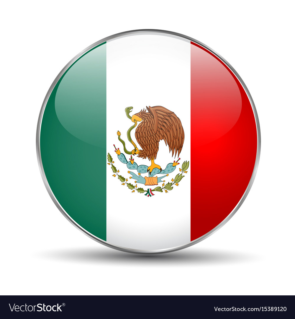 Flag of mexico mexican round glass button