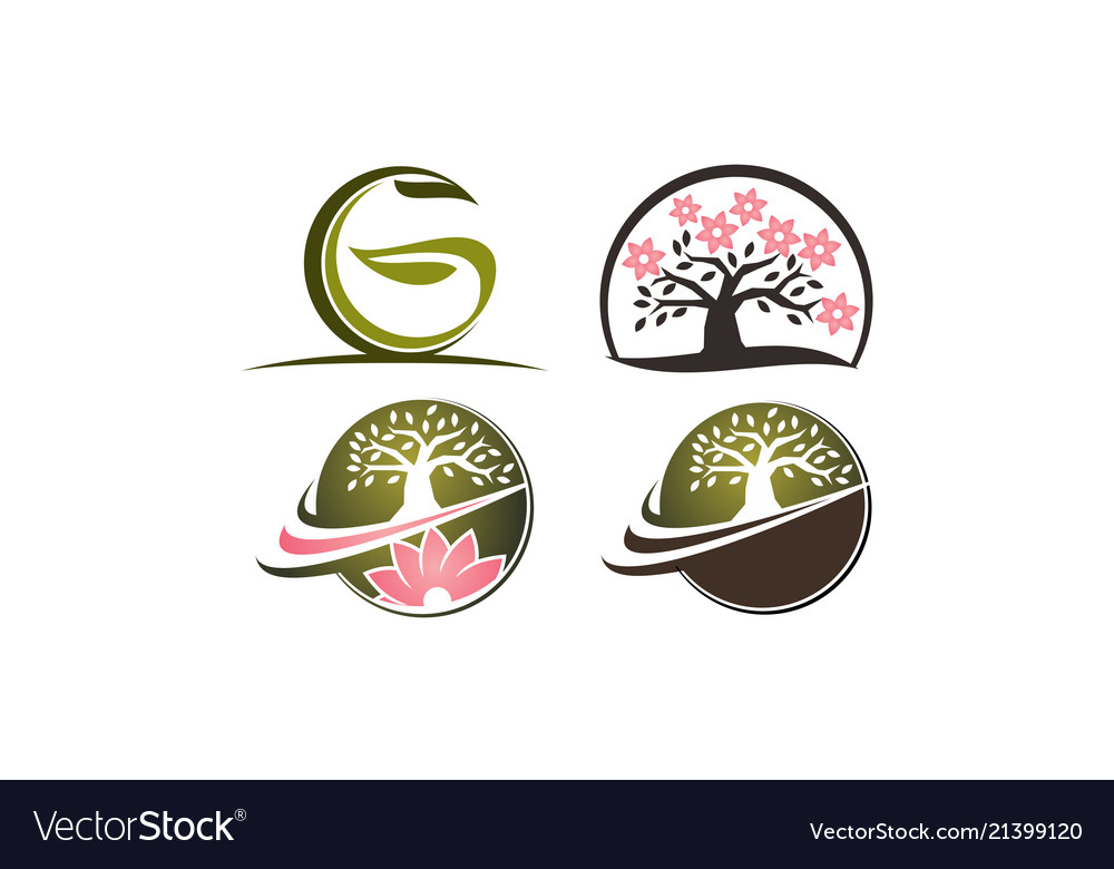 Flower tree template set