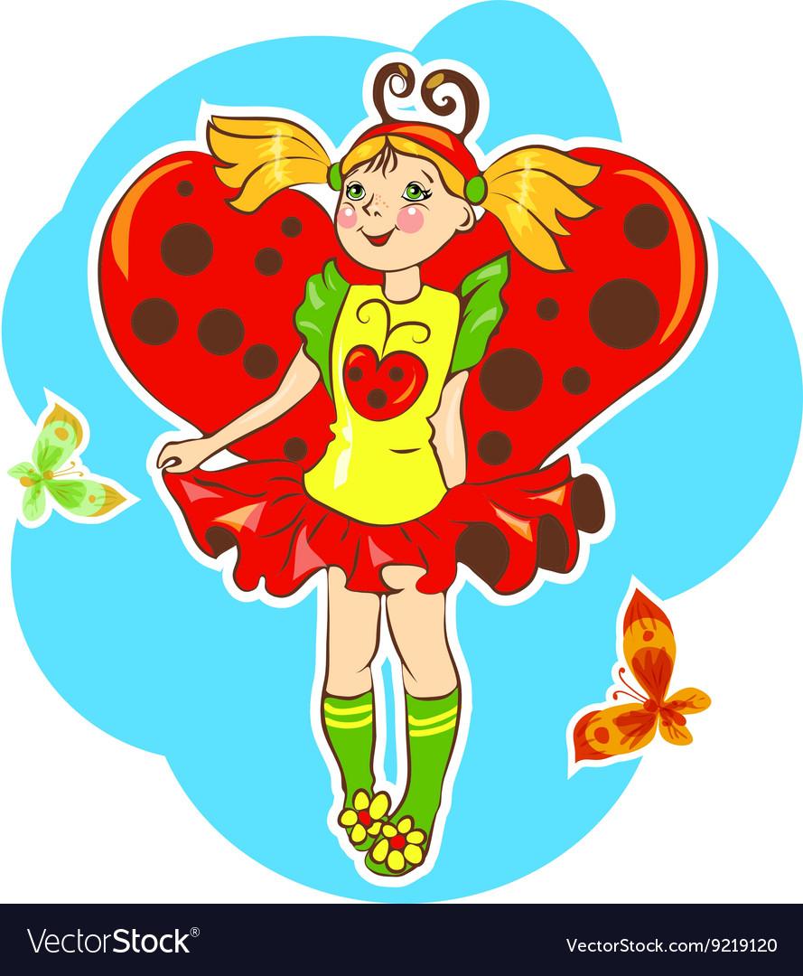 Girl wearing ladybug costume