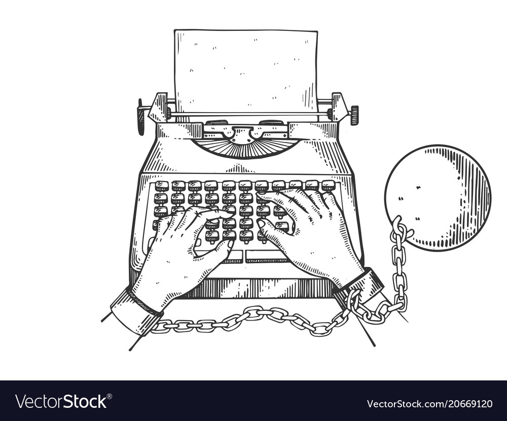 Hands chained to typewriter engraving