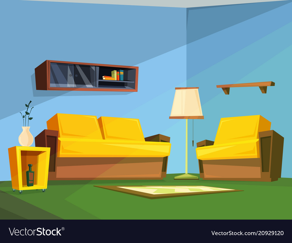Living room interior in cartoon style