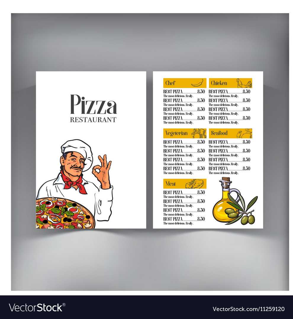 Menu design with Italian chef serving freshly vector image