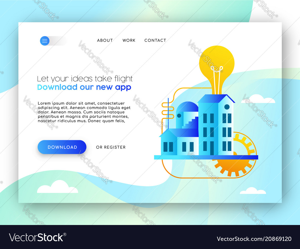 Online business landing page template for app idea