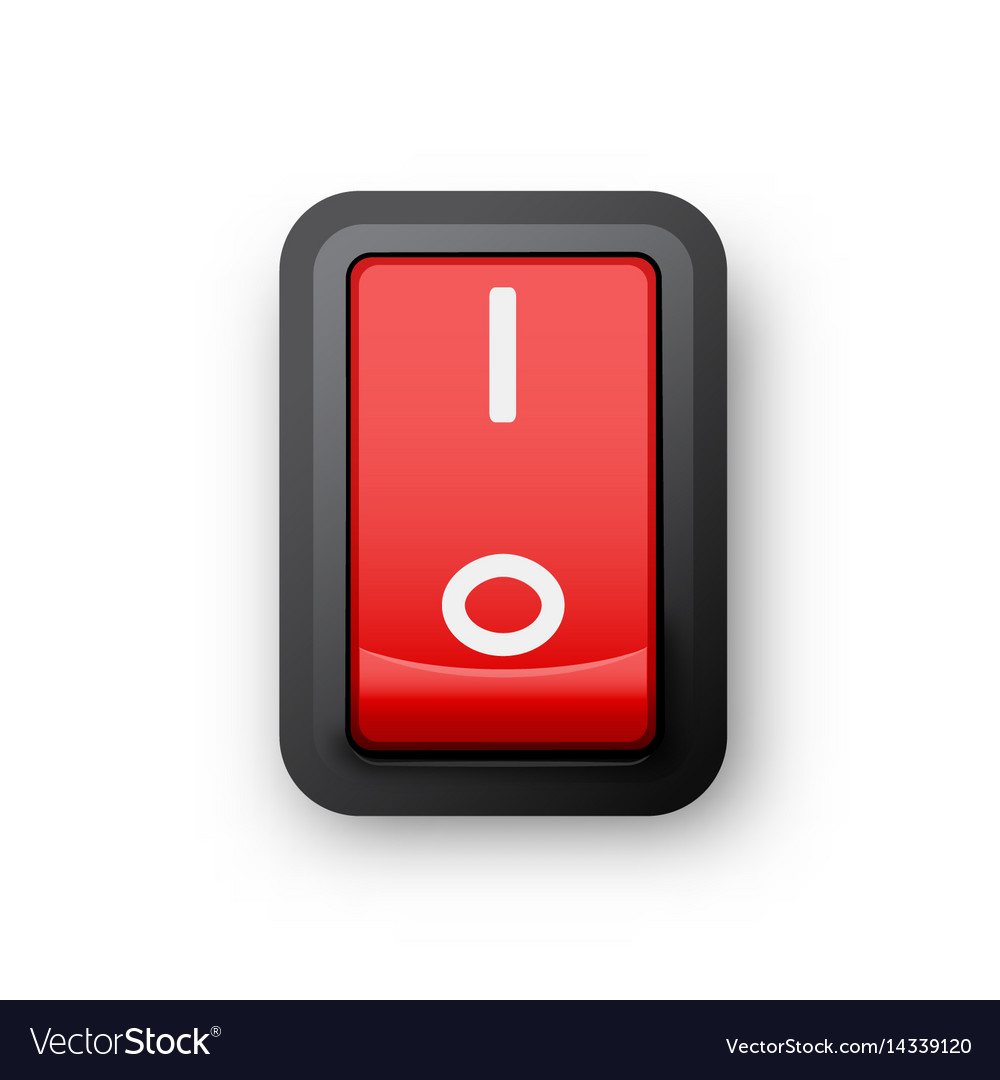 Red pc electric switch Royalty Free Vector Image