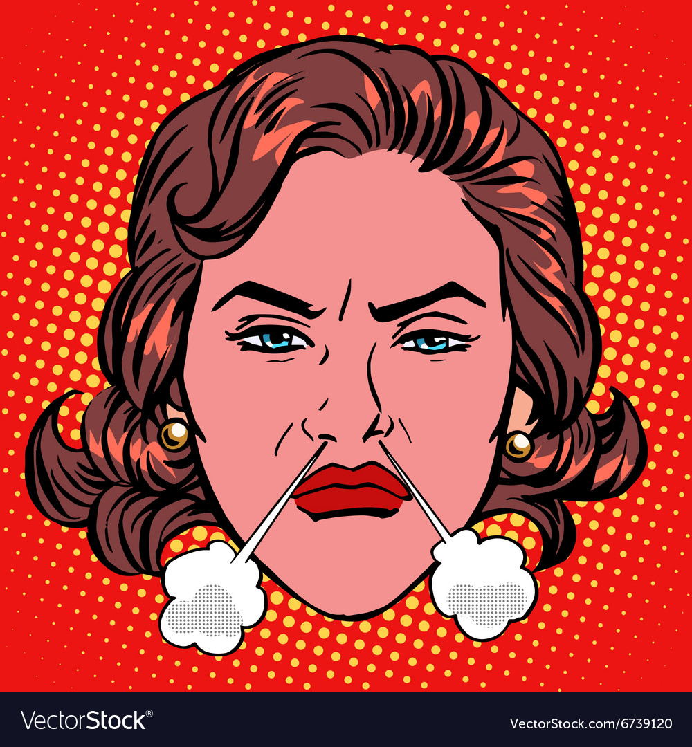 Retro emoji rage anger boiling woman face