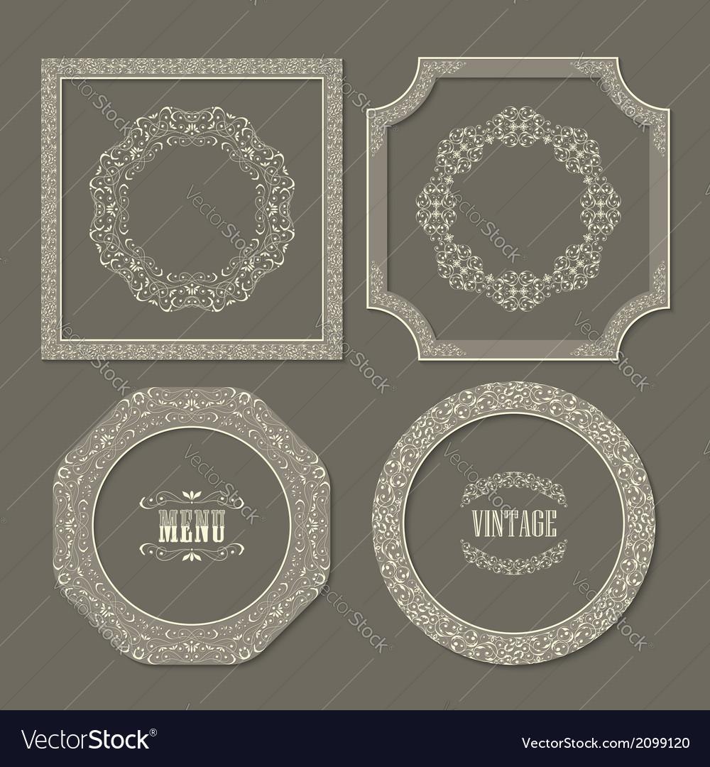 Set of vintage frames borders