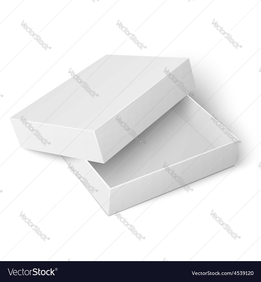 Template of white cardboard box with opened lid