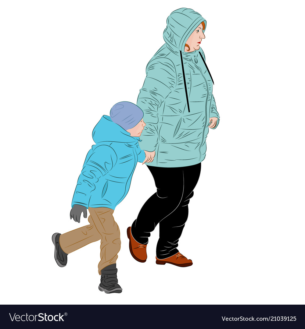 A mother is walking by the hand with the child