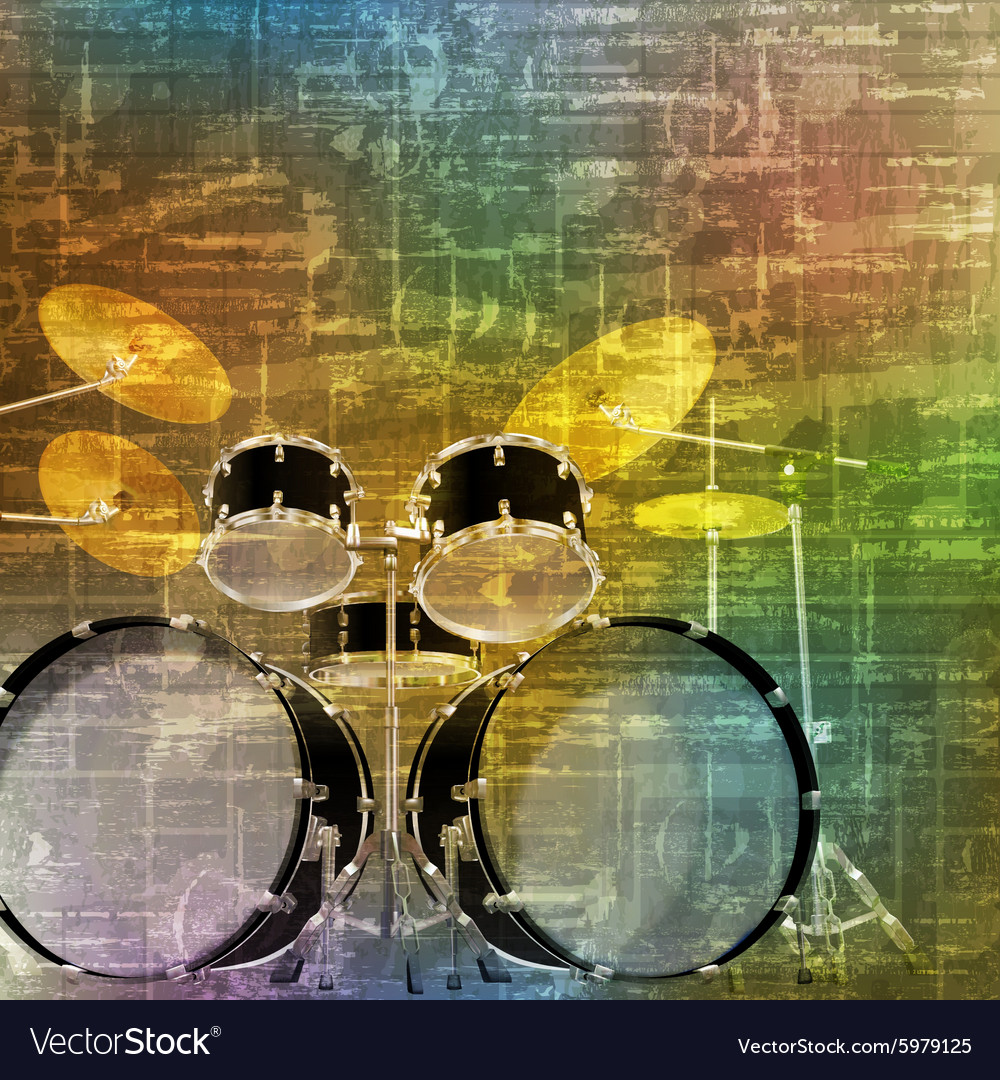 Abstract green music grunge background drum kit Vector Image