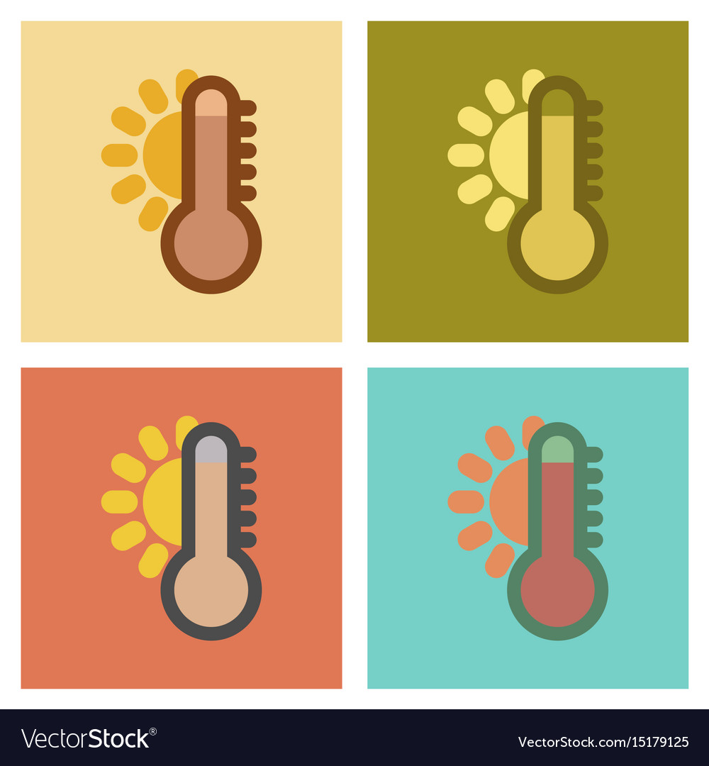 yellow thermometer icon flat style