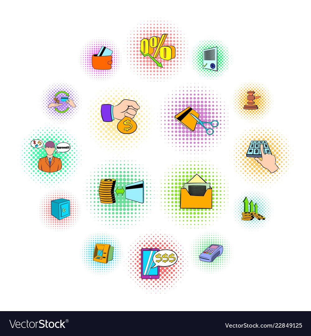Bank icons set pop-art style