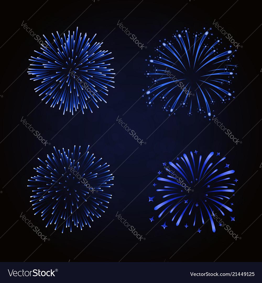 Beautiful blue fireworks set bright fireworks