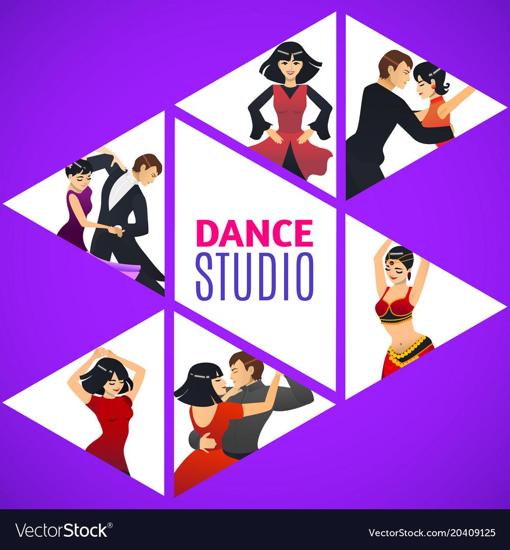 dance studio template in cartoon style royalty free vector