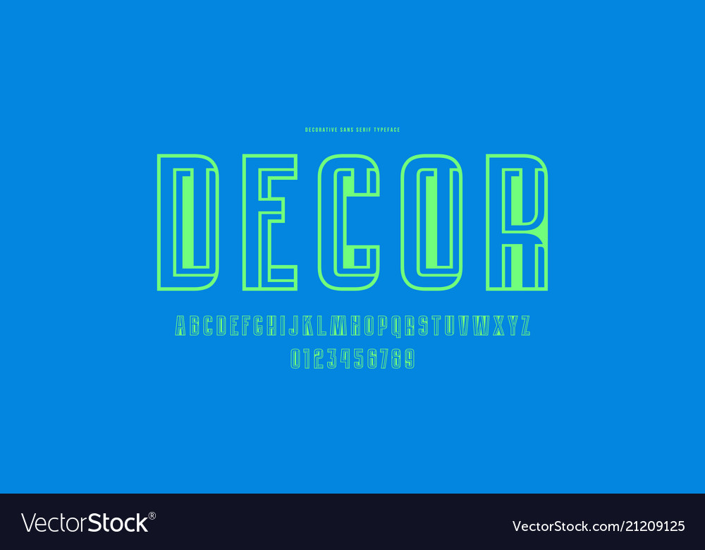 Decorative hollow sans serif font