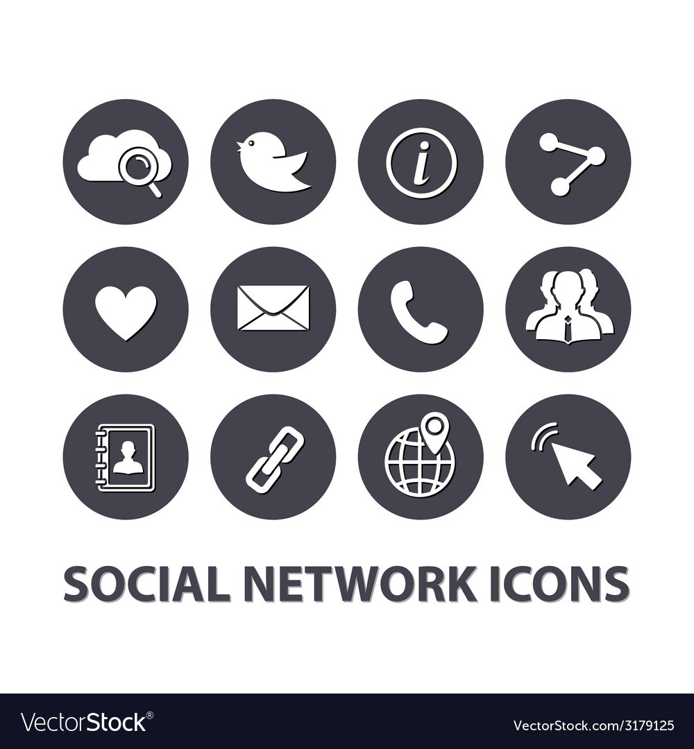 Flat Social network icons set vector image