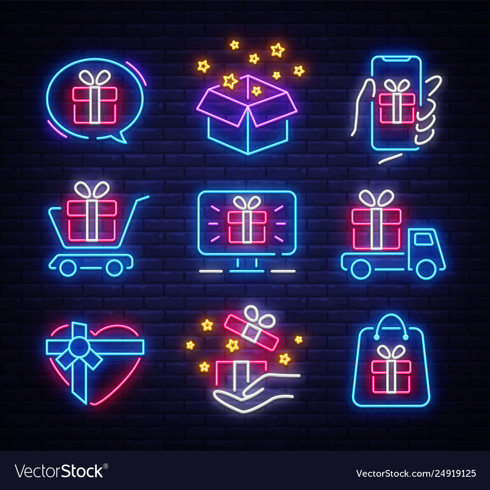 Gifts icon set neon design template design