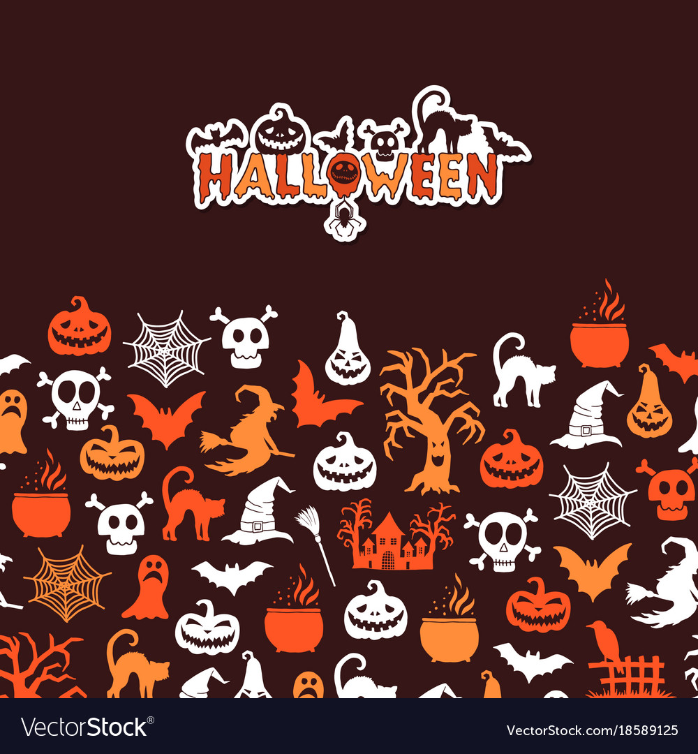 Halloween background with witches pumpkins
