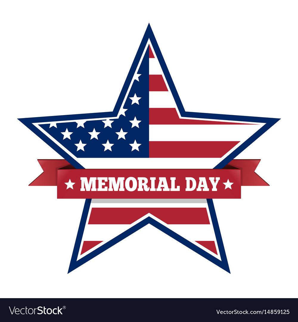 Memorial day with star in us national flag colors vector image