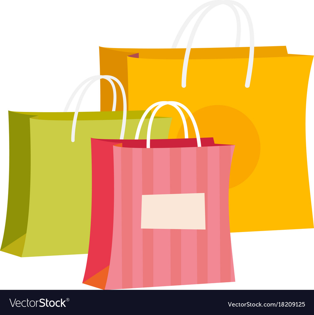 Paper Shopping Bags Cartoon Royalty Free Vector Image
