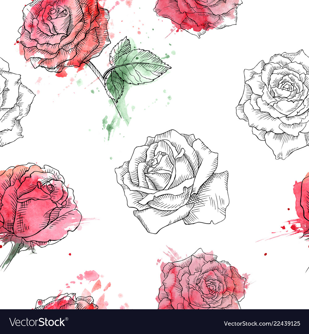 Red roses seamless watercolor pattern