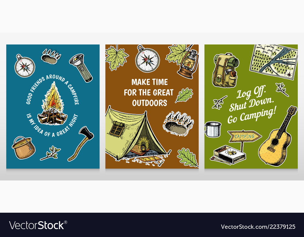 Camping Christmas Cards.Set Of Camping Cards Poster Or Print Template