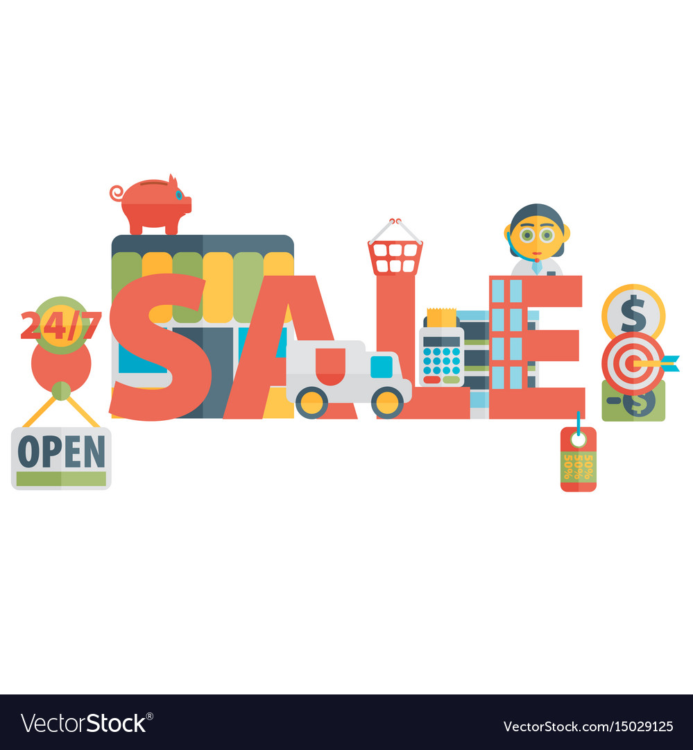Set of flat icons about shopping sale