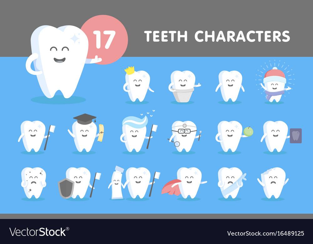 Set of smiling teeth vector image